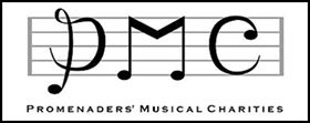 Stylised letters PMC recalling the shape of musical clefs and notes on a stave with the text Promenaders' Musical Charities below